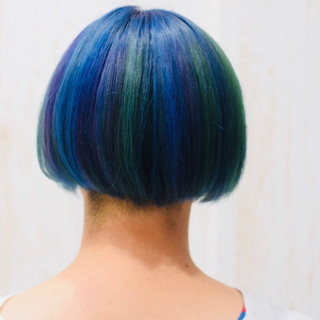 ユニコーンカラー モード ボブ ミニボブ ヘアスタイルや髪型の写真・画像