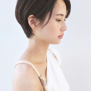 黒髪 ハンサムショート ナチュラル デート ヘアスタイルや髪型の写真・画像
