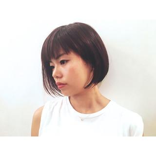 アシメバング ボブ モード ショート ヘアスタイルや髪型の写真・画像