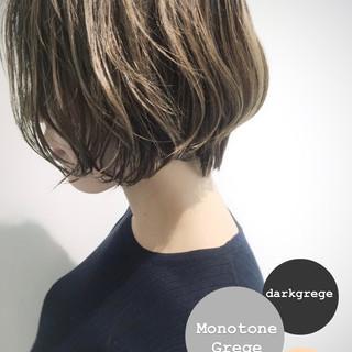 大人ハイライト イルミナカラー モード ボブ ヘアスタイルや髪型の写真・画像