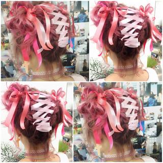 フェミニン ミディアム 夏 簡単ヘアアレンジ ヘアスタイルや髪型の写真・画像