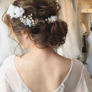 アンニュイ セミロング ヘアアレンジ 結婚式 ヘアスタイルや髪型の写真・画像