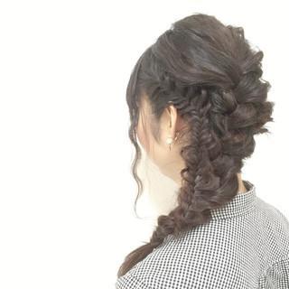 モテ髪 波ウェーブ 愛され 編み込み ヘアスタイルや髪型の写真・画像