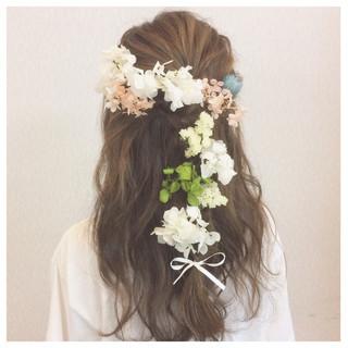 ハーフアップ ヘアアレンジ ロング 結婚式 ヘアスタイルや髪型の写真・画像
