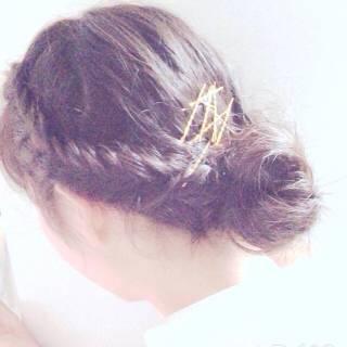 黒髪 フィッシュボーン ヘアアクセ ナチュラル ヘアスタイルや髪型の写真・画像