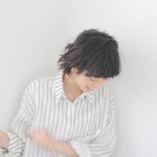 抜け感 夏 黒髪 ショート ヘアスタイルや髪型の写真・画像