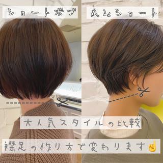 ショートボブ ショート ナチュラル 丸みショート ヘアスタイルや髪型の写真・画像