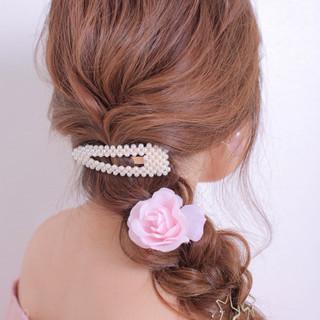 結婚式ヘアアレンジ 撮影 ロング 編みおろしヘア ヘアスタイルや髪型の写真・画像