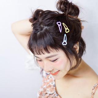 ハーフアップ お団子 簡単ヘアアレンジ ボブ ヘアスタイルや髪型の写真・画像 ヘアスタイルや髪型の写真・画像