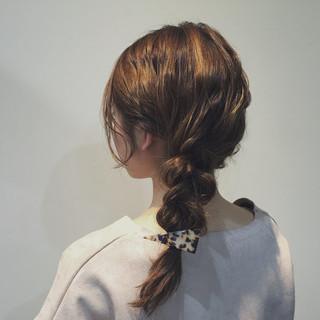 簡単ヘアアレンジ 三つ編み セミロング 無造作 ヘアスタイルや髪型の写真・画像 ヘアスタイルや髪型の写真・画像