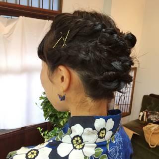 ラフ 編み込み ストリート ミディアム ヘアスタイルや髪型の写真・画像