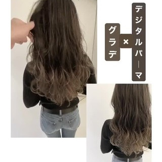 ハイライト デジタルパーマ ナチュラル アンニュイほつれヘア ヘアスタイルや髪型の写真・画像