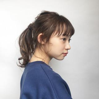 オフィス セミロング 簡単ヘアアレンジ ポニーテール ヘアスタイルや髪型の写真・画像 ヘアスタイルや髪型の写真・画像