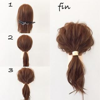 ナチュラル ミディアム 大人女子 簡単ヘアアレンジ ヘアスタイルや髪型の写真・画像