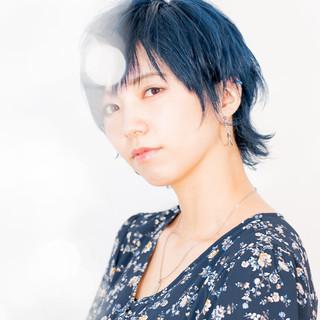 モード マッシュウルフ ブルー ブルーブラック ヘアスタイルや髪型の写真・画像