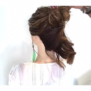 ボブ 女子会 簡単ヘアアレンジ フェミニン ヘアスタイルや髪型の写真・画像 ヘアスタイルや髪型の写真・画像