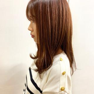 ワンカールパーマ ラズベリーピンク セミロング ピンクアッシュ ヘアスタイルや髪型の写真・画像