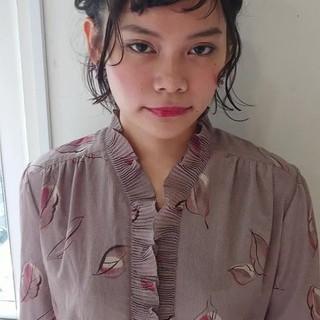 ヘアアレンジ デート 黒髪 簡単ヘアアレンジ ヘアスタイルや髪型の写真・画像