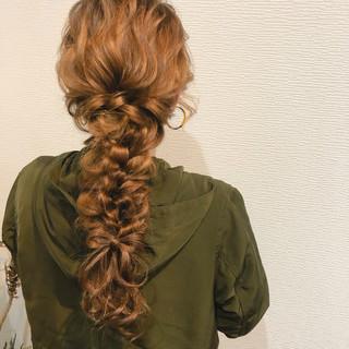 編みおろしヘア フェミニン 編みおろし ヘアセット ヘアスタイルや髪型の写真・画像