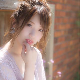 ハイライト ミディアム お団子 イルミナカラー ヘアスタイルや髪型の写真・画像