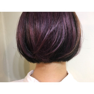 ボブ パープル 耳かけ ピンク ヘアスタイルや髪型の写真・画像