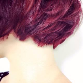 ワンカール ラベンダー ボブ 秋 ヘアスタイルや髪型の写真・画像