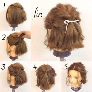 ボブ フェミニン 簡単ヘアアレンジ 結婚式 ヘアスタイルや髪型の写真・画像