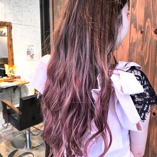 ロング ピンク ラベンダー グラデーションカラー ヘアスタイルや髪型の写真・画像