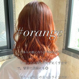 ブリーチ ミディアム デート オレンジカラー ヘアスタイルや髪型の写真・画像