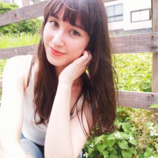 前髪あり 暗髪 外国人風 ロング ヘアスタイルや髪型の写真・画像