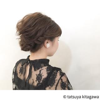 結婚式 フェミニン アップスタイル ミディアム ヘアスタイルや髪型の写真・画像