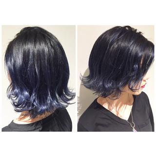 ハイライト 暗髪 外国人風 ミディアム ヘアスタイルや髪型の写真・画像