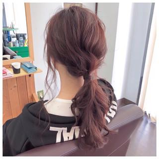 ポニーテール フェミニン セミロング 簡単ヘアアレンジ ヘアスタイルや髪型の写真・画像