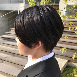 ショートボブ ショート 黒髪 ハンサムショート ヘアスタイルや髪型の写真・画像
