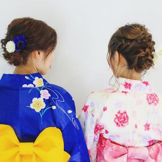 お祭り ヘアアレンジ 花火大会 フェミニン ヘアスタイルや髪型の写真・画像