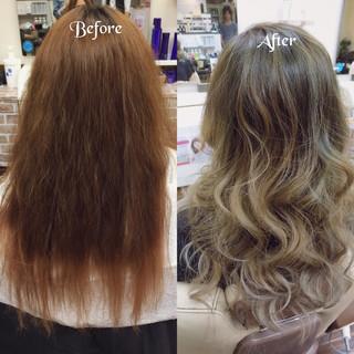 グラデーションカラー ロング アッシュ 夏 ヘアスタイルや髪型の写真・画像 ヘアスタイルや髪型の写真・画像