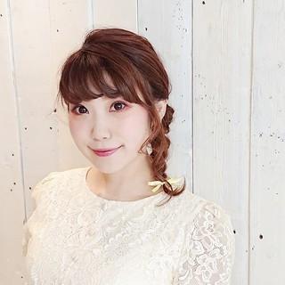 ショート 三つ編み 結婚式 ガーリー ヘアスタイルや髪型の写真・画像