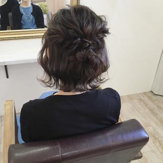 ナチュラル ボブ 簡単ヘアアレンジ 結婚式 ヘアスタイルや髪型の写真・画像