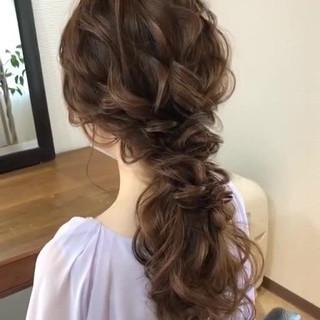 大人かわいい セミロング 結婚式ヘアアレンジ フェミニン ヘアスタイルや髪型の写真・画像