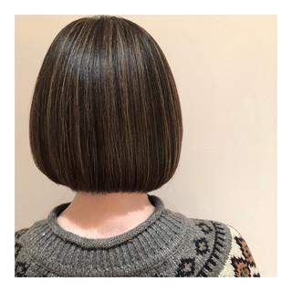 ボブ ナチュラル グレージュ 3Dハイライト ヘアスタイルや髪型の写真・画像 ヘアスタイルや髪型の写真・画像