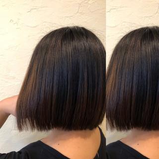 エレガント バレイヤージュ ボブ 大人ハイライト ヘアスタイルや髪型の写真・画像