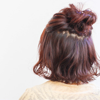 ニュアンス ストリート ハーフアップ ピンク ヘアスタイルや髪型の写真・画像