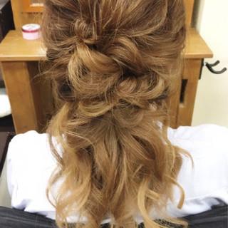 ロング デート ガーリー ヘアアレンジ ヘアスタイルや髪型の写真・画像