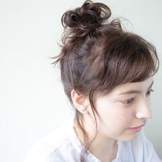 ヘアアレンジ 簡単ヘアアレンジ 暗髪 ミディアム ヘアスタイルや髪型の写真・画像