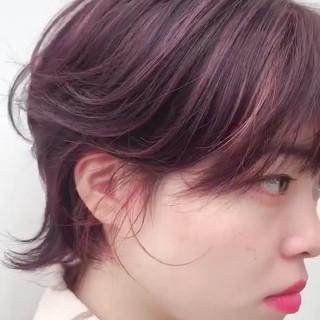 イルミナカラー ピンク ベリーピンク 大人ショート ヘアスタイルや髪型の写真・画像