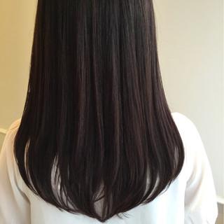 セミロング 暗髪 ナチュラル パーマ ヘアスタイルや髪型の写真・画像