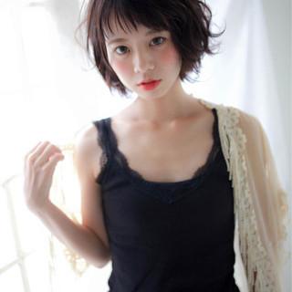 デート 透明感 梅雨 ショート ヘアスタイルや髪型の写真・画像