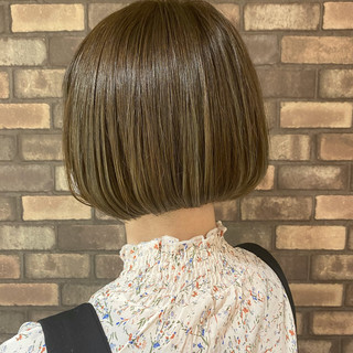 透明感 ショートボブ 艶髪 ナチュラル ヘアスタイルや髪型の写真・画像