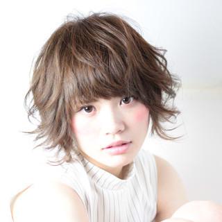 ガーリー パーマ ショート ピュア ヘアスタイルや髪型の写真・画像