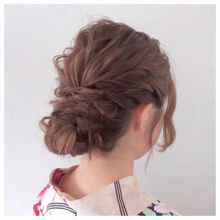 花火大会 お祭り 夏 セミロング ヘアスタイルや髪型の写真・画像